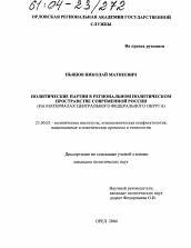 Политические партии в региональном политическом пространстве  Диссертация по политологии на тему Политические партии в региональном политическом пространстве современной России