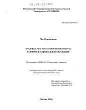 Трудовые ресурсы в современном Китае развитие и рациональное  Диссертация по социологии на тему Трудовые ресурсы в современном Китае развитие и рациональное управление