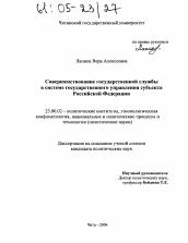 Совершенствование государственной службы в системе  Диссертация по политологии на тему Совершенствование государственной службы в системе государственного управления субъекта Российской Федерации