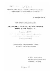 Молодежная политика в современном российском обществе  Диссертация по политологии на тему Молодежная политика в современном российском обществе