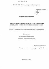 Формирование конкурентной среды как основы социально  Диссертация по социологии на тему Формирование конкурентной среды как основы социально экономического развития России