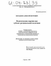Политические партии как субъект региональной политики  Диссертация по политологии на тему Политические партии как субъект региональной политики